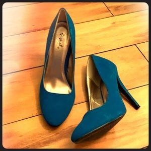 3/$30 - Bright blue suede high heels, size 8.5